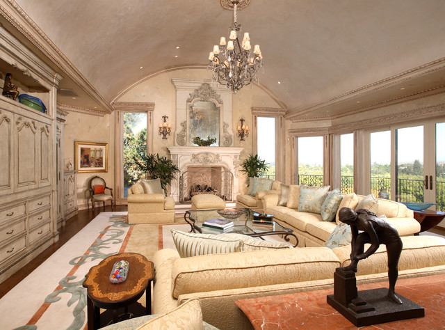 Los Altos Hils Formal French Chateau Traditional Living Room