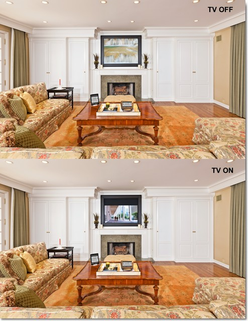 Los Angeles hidden audio video system traditional-living-room