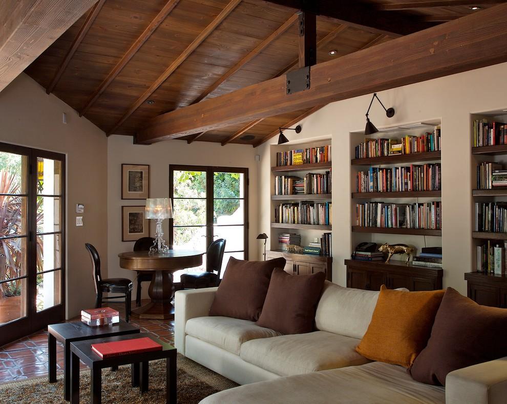 Living room library - mediterranean living room library idea in Los Angeles