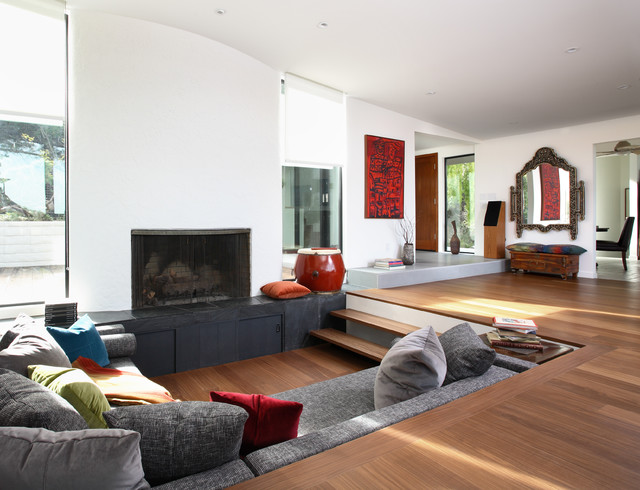 Eclectic living room idea in San Francisco Vinyl Flooring Living Room  Houzz