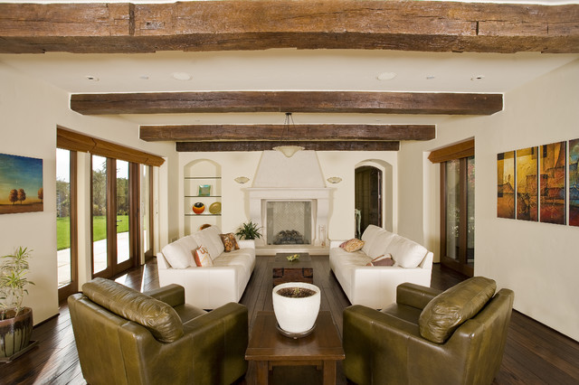 Los Gatos Mediterranean Custom Home Rustic Living Room