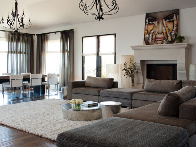 Beau Inspiration For A Large Contemporary Open Concept Dark Wood Floor And Brown  Floor Living Room Remodel