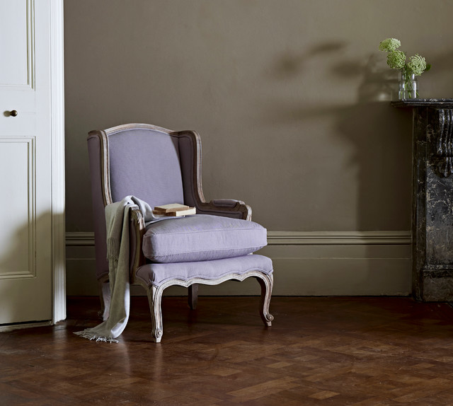 Louis french armchair aubergine traditional living for Traditional armchairs for living room