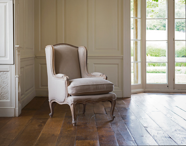 Louis French Armchair Putty Traditional Living Room
