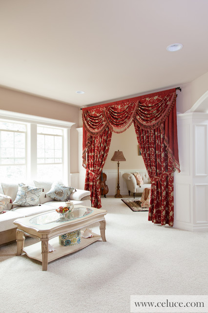 Louis xvi swag valance window treatment traditional - Houzz window treatments living room ...