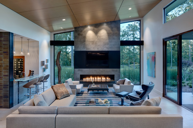 Example Of A Trendy Open Concept Living Room Design In Dallas With Bar And