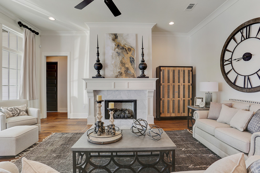 Inspiration for a mid-sized transitional formal and open concept dark wood floor and brown floor living room remodel in New Orleans with white walls, a standard fireplace, a stone fireplace and no tv