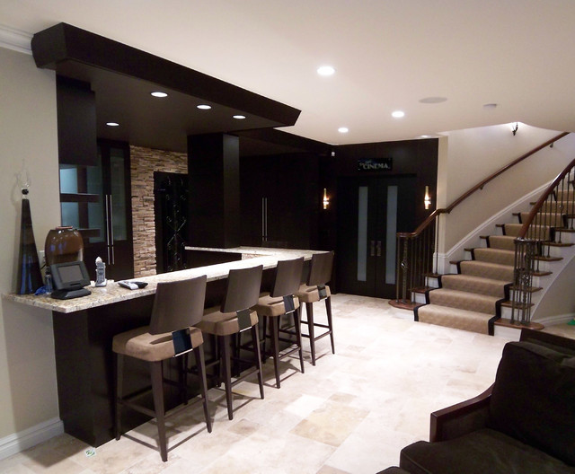 Lower level bar contemporary living room other metro by millennium cabinetry - Bar in living room designs ...