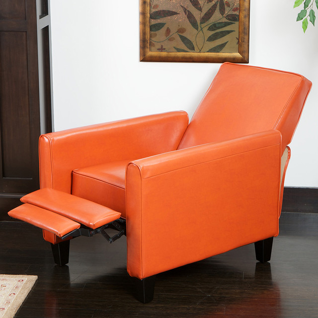 Lucas Orange Leather Recliner Club Chair Modern Living Room Los Angeles