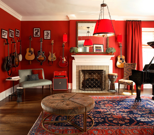 red wall living room. Eclectic Living Room By Dillard Pierce Design Associates What Goes With Red Walls