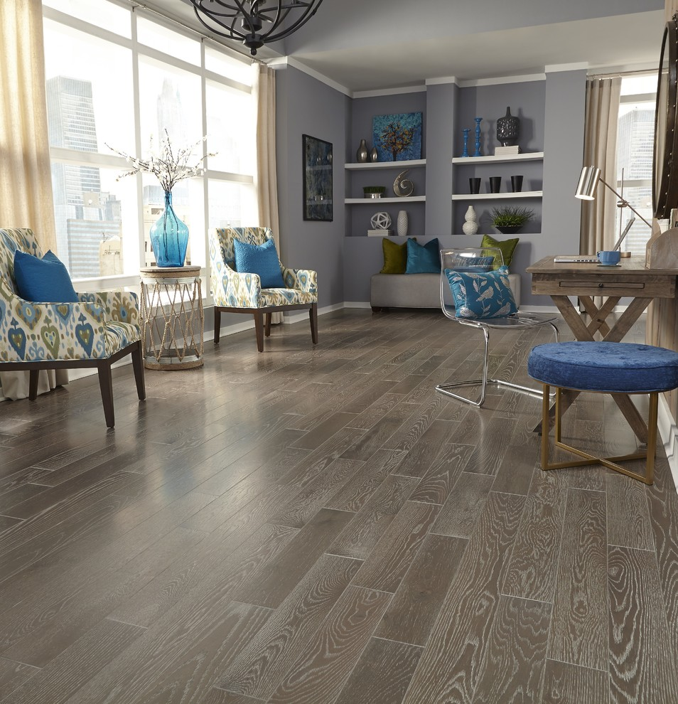 Large trendy formal and open concept medium tone wood floor and brown floor living room photo in Other with beige walls