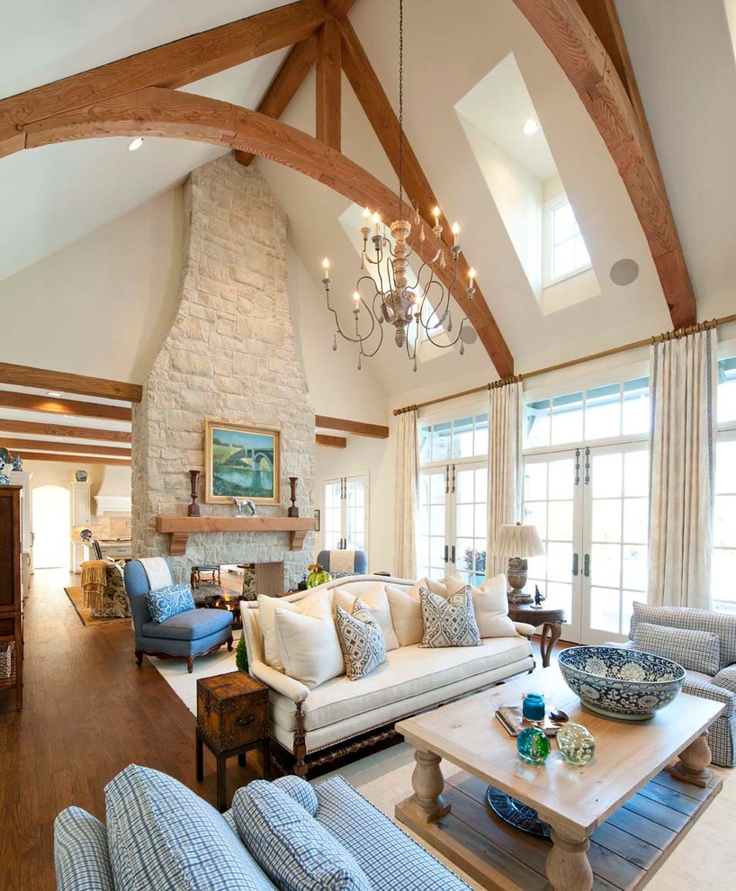 Living room - large traditional open concept living room idea in Dallas