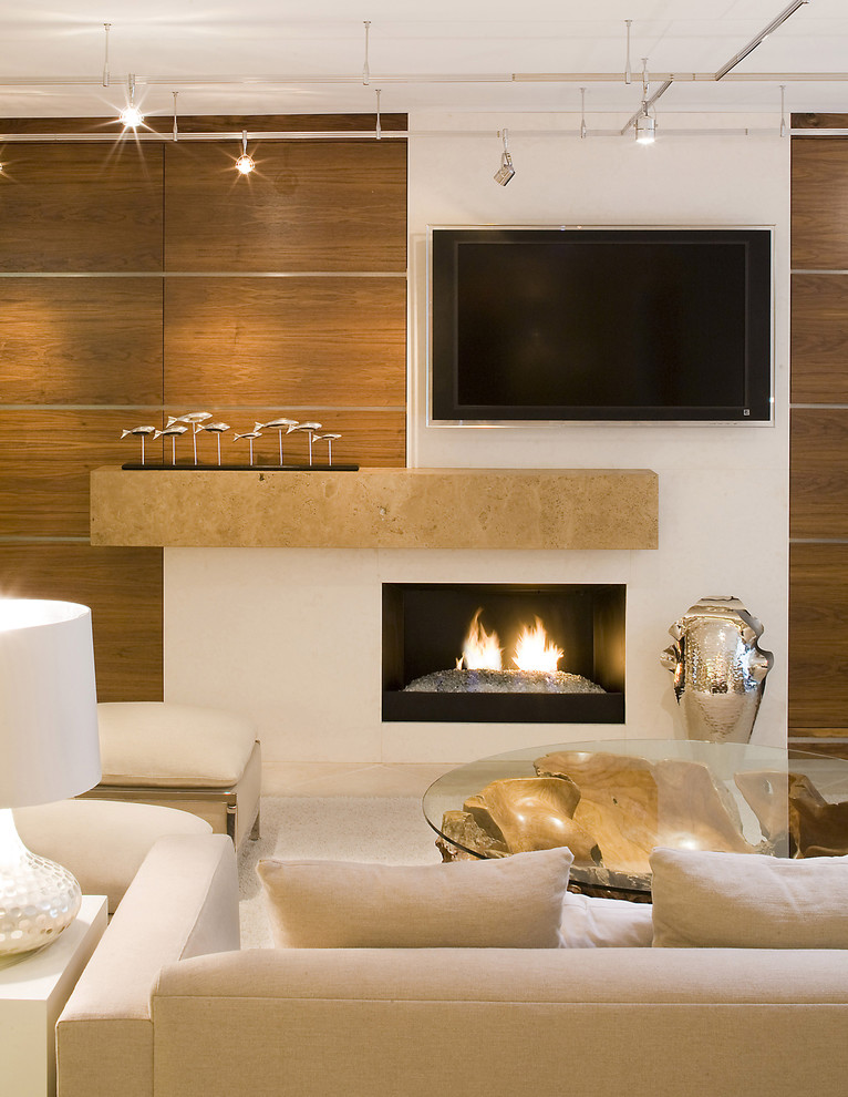 Inspiration for a contemporary living room remodel in Jacksonville with a wall-mounted tv and a stone fireplace