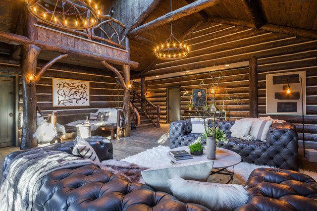 Luxe Log Cabin In The Canyon Rustic Living Room Los