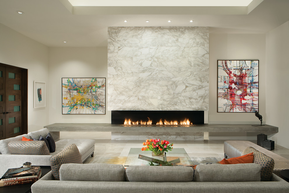 Living room - mid-sized contemporary formal and open concept marble floor and white floor living room idea in Phoenix with white walls, a ribbon fireplace, a stone fireplace and no tv