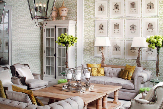 Luxurious Cream Living Room With Accents Of Lemon Lime Traditional Living Room Dublin