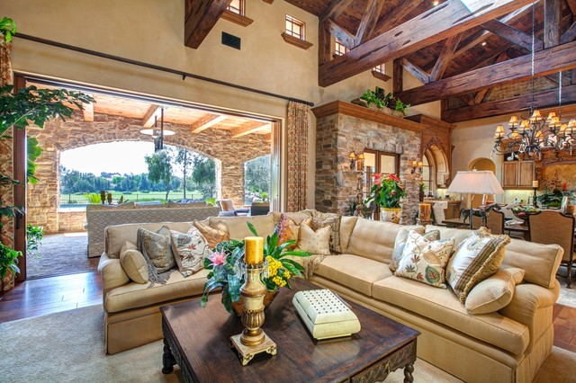 Luxury IndoorOutdoor Living Room Design In Rancho Santa Fe Rustic Custom Outdoor Living Room Design
