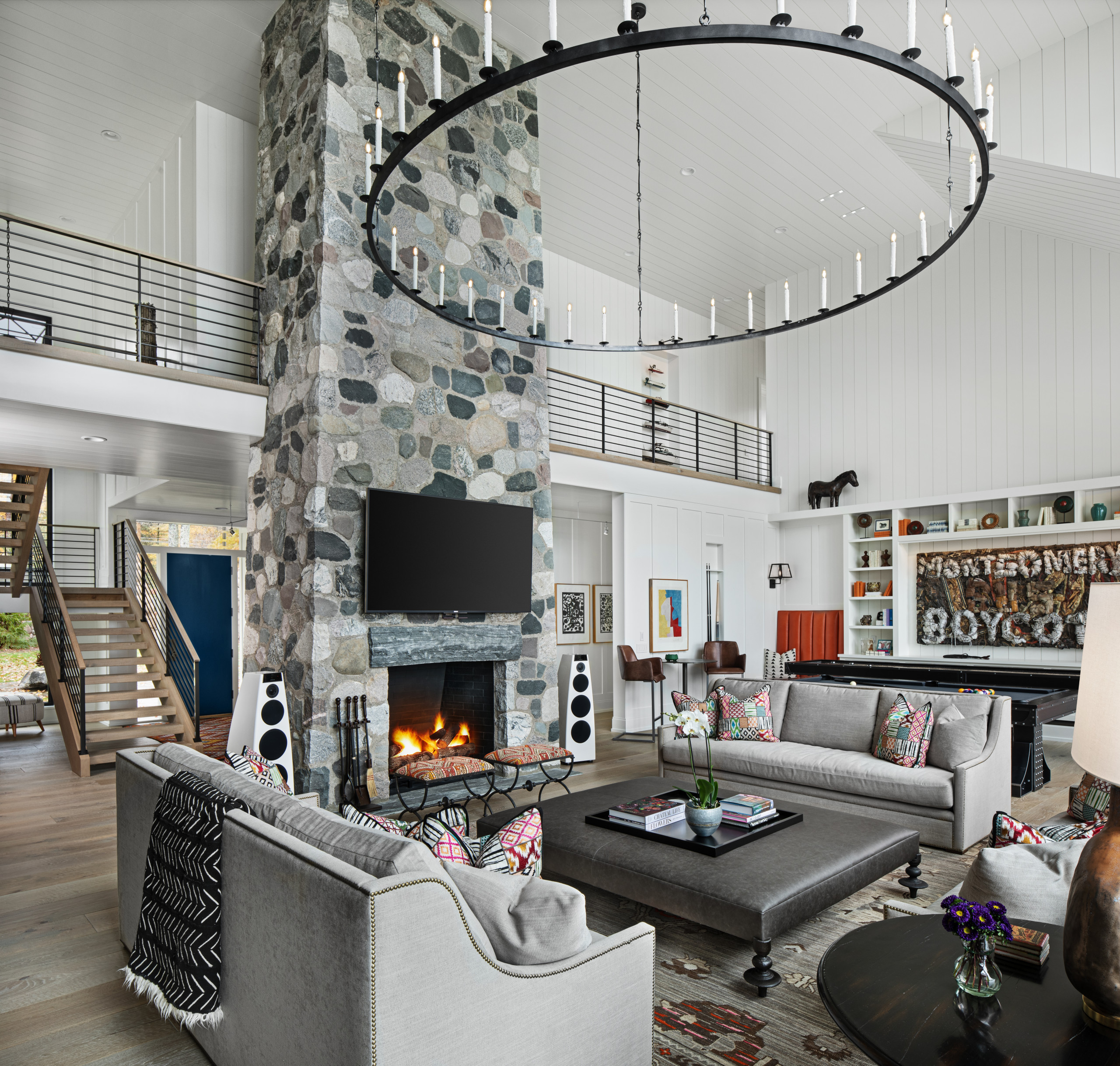 75 Beautiful Living Room With A Stone Fireplace Pictures Ideas October 2020 Houzz