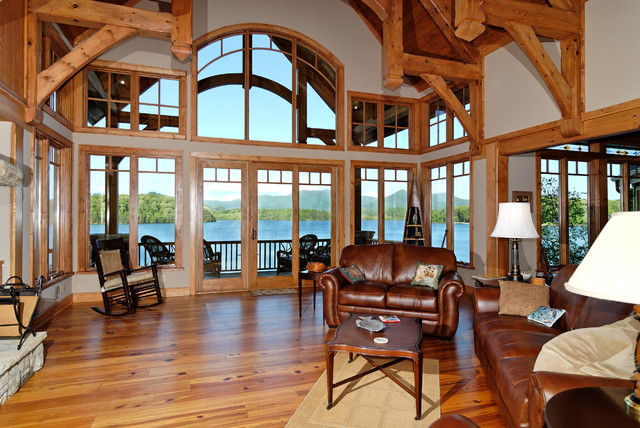luxury lake retreat architectural designs house plan 26600gg rustic living room