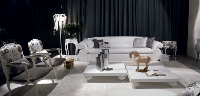 Luxury oversized white sofa - black and white modern living ...