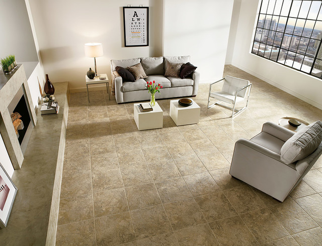 Luxury Vinyl Tile Living Room Eclectic