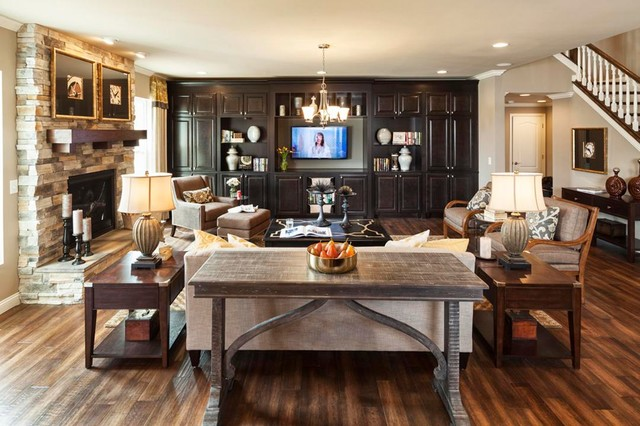 Model Living Room m/i homes of cincinnati: carriage trails - cheswicke model