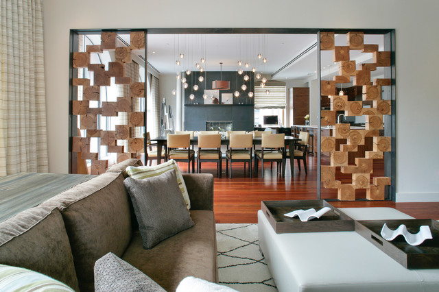 Wood Wall Design Ideas sarahs wall is a particularly good example of the incredible impact these walls can have i love the mix of stained painted and raw wood pieces truly Inspiration For A Contemporary Living Room Remodel In New York With White Walls