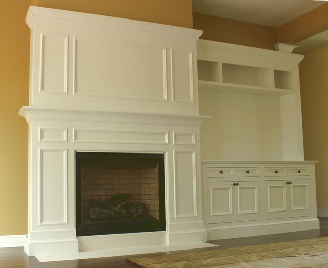 Made To Order Fireplace Surround And Cabinets Transitional