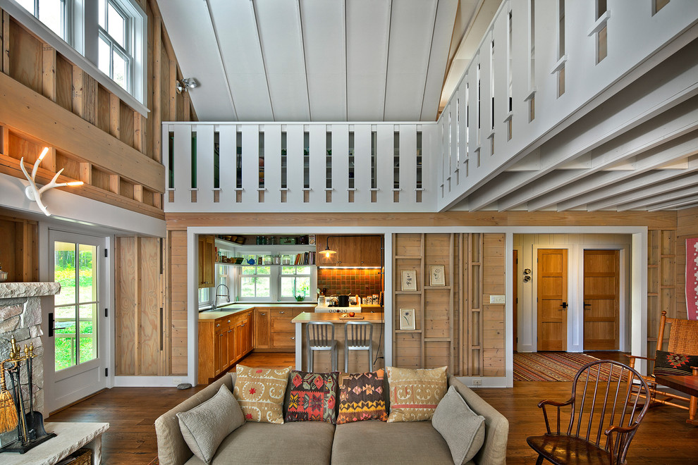 Living room - farmhouse formal and open concept living room idea in Minneapolis
