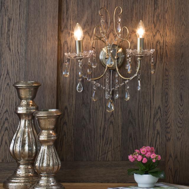 Madonna 2 Light Wall Light in Antique Brass