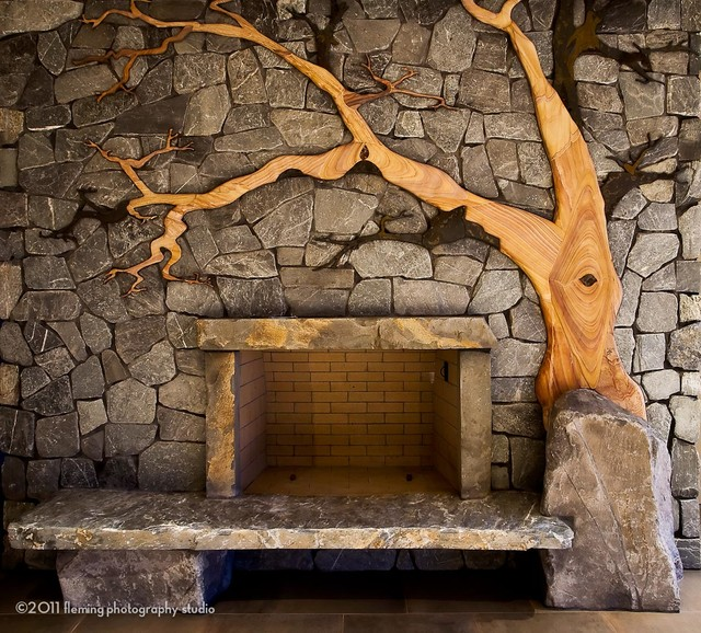 madrona on a rock fireplace eclectic living room other metro