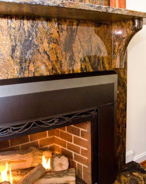Magma Gold Granite Fireplace Surround Modern Living