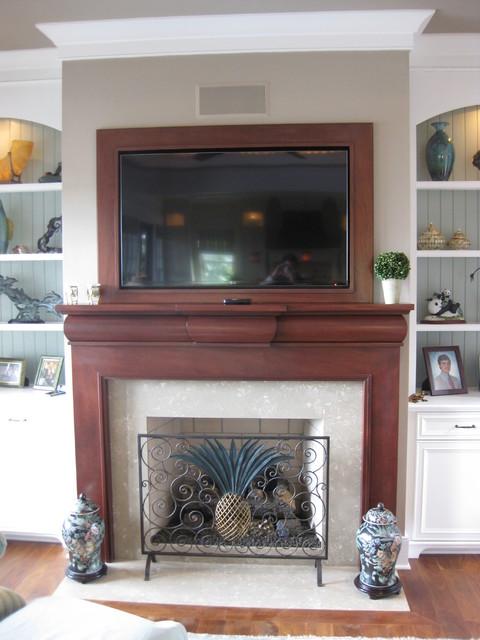 Mahogany fireplace traditional living room for Mahogany living room ideas