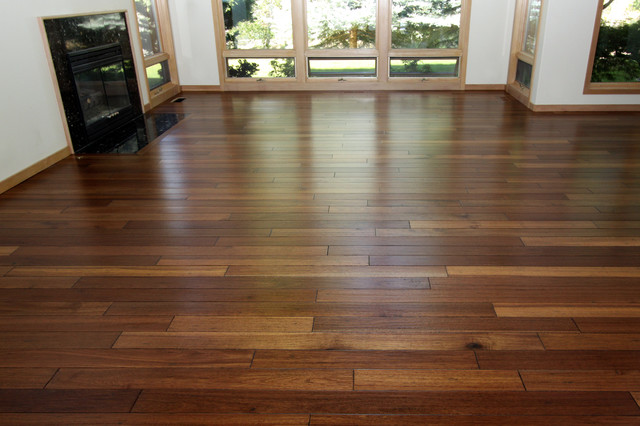 Mahogany hand scraped hardwood floor contemporary living room boise by esl hardwood floors for Living room with wood floors