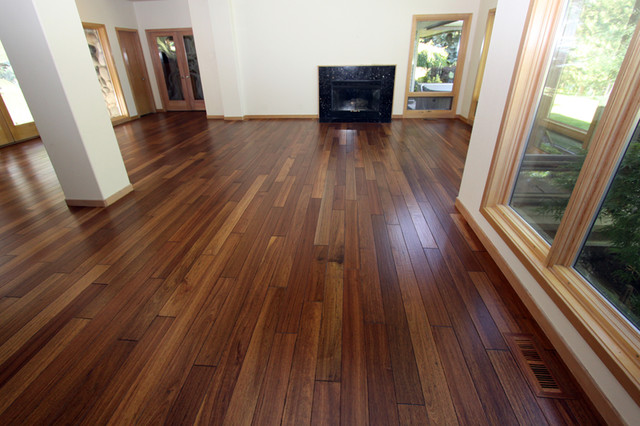 Mahogany   Hand Scraped Hardwood Floor Contemporary Living Room