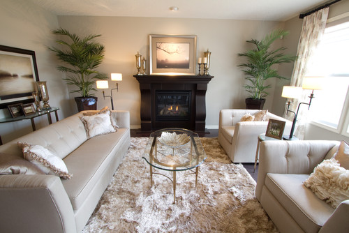 luxurious living room with two large plants and grey sofas on shaggy rug