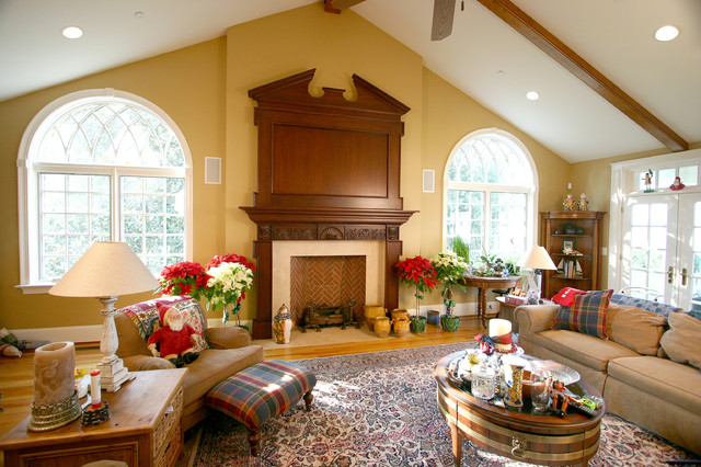 Mahogany mantle and overmantle with hidden tv design by for Mahogany living room ideas