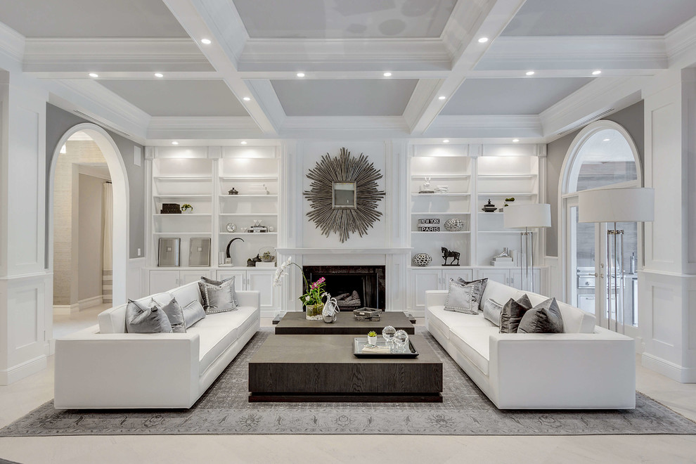 Small transitional formal and open concept concrete floor and beige floor living room photo in Miami with gray walls, a standard fireplace, a tile fireplace and no tv