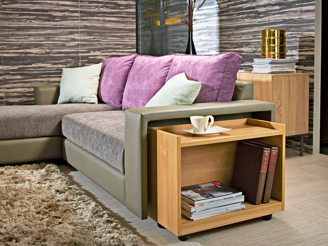 Main L Shape Sofa With Side Table Contemporary Living Room