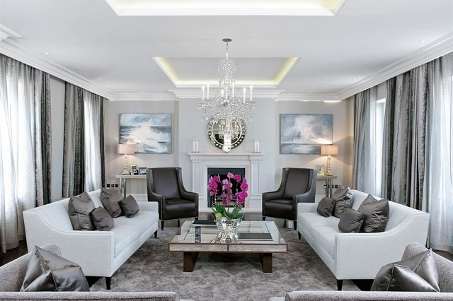 Inspiration for a large transitional formal living room remodel in London  with gray walls and a