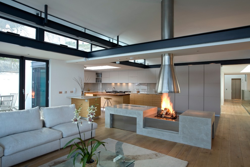Example of a large trendy living room design in Devon