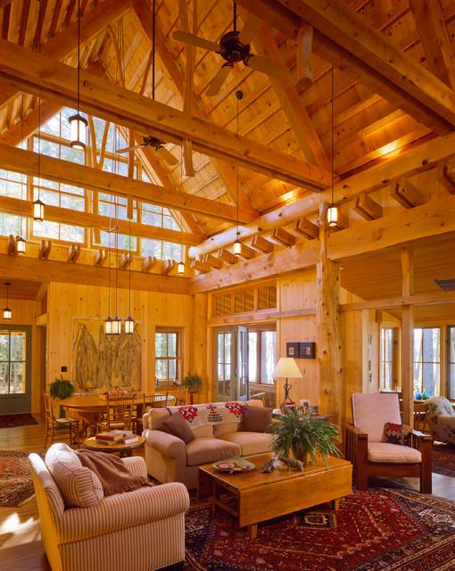 Maine Camp rustic-living-room