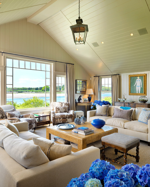 Maine retreat beach style living room boston by anthony catalfano interiors inc - Beach style living room ...