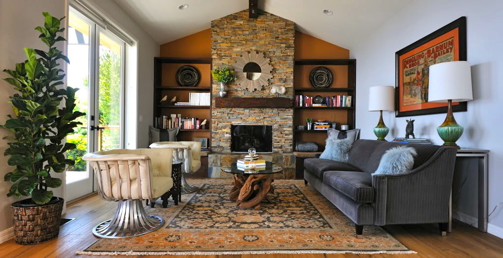 Inspiration for a rustic living room remodel in Los Angeles