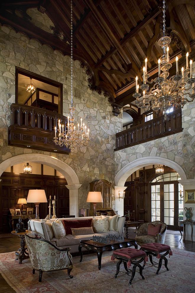Huge elegant formal dark wood floor living room photo in Austin with no tv