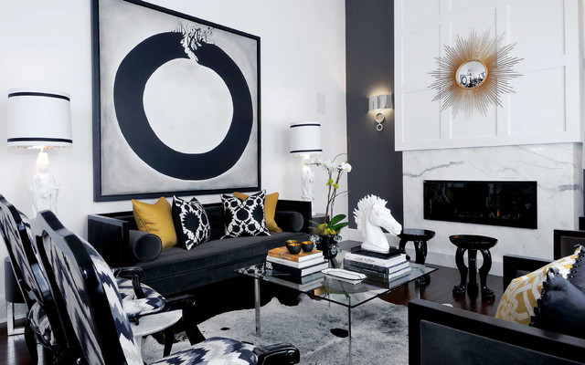 mallin cres living room asian living room - Black And White Chairs Living Room