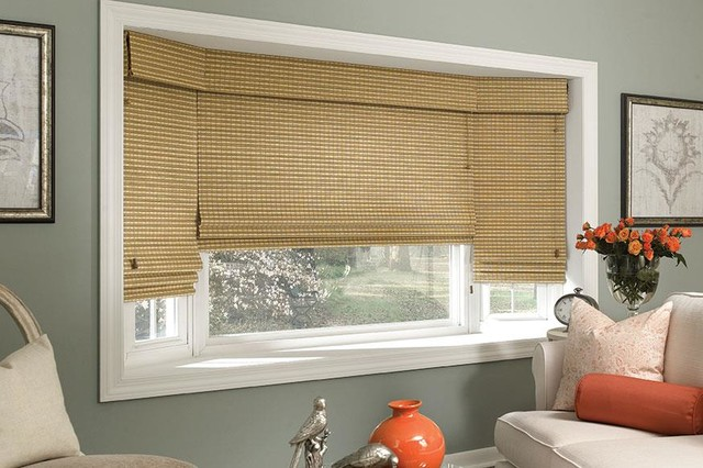Manh truc woven wood roman shades bay window shades for Roman shades for bay windows