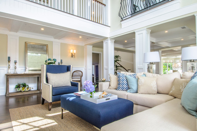Elegant Manhattan Beach Cape Cod Home Beach Style Living Room