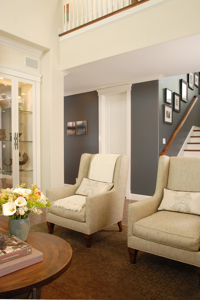 Living room - transitional living room idea in Los Angeles with gray walls