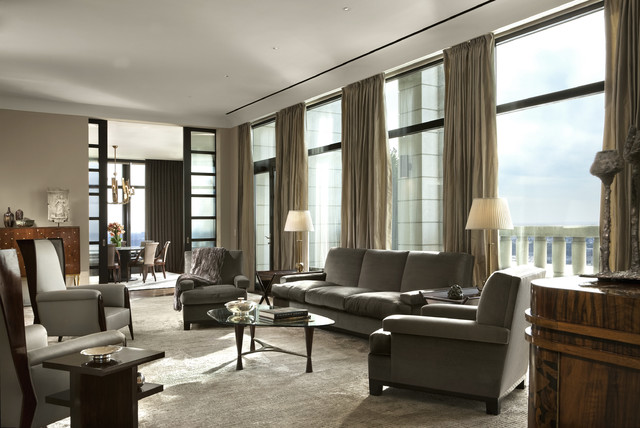Manhattan Penthouse Transitional Living Room New